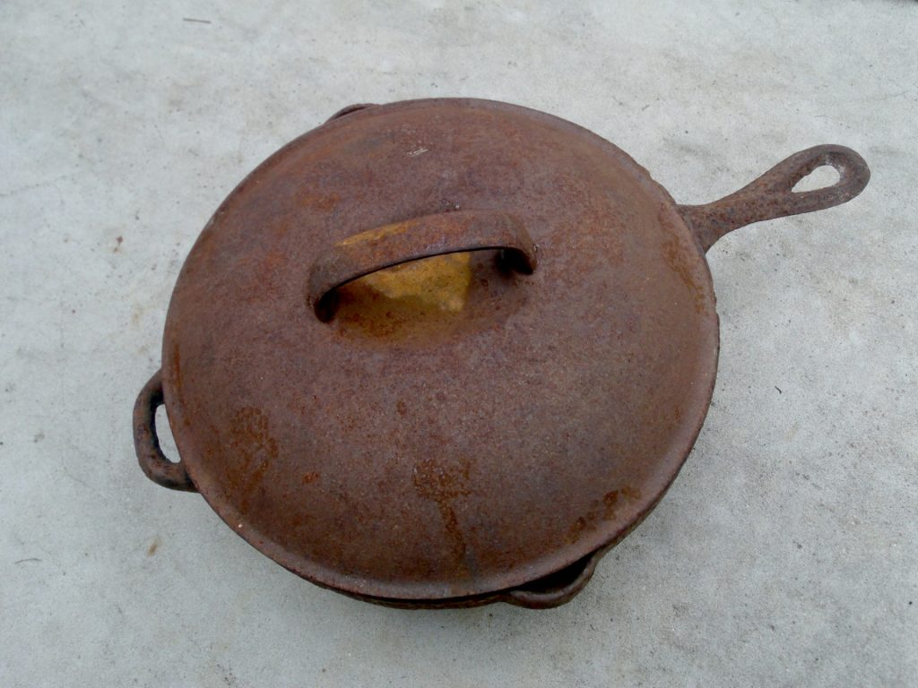 A rusted covered skillet