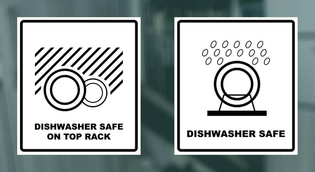 The official dishwasher safe logo on the left (two dishes under some lines representing water) which is only for the top rack, and the unofficial dishwasher safe logo on the right.