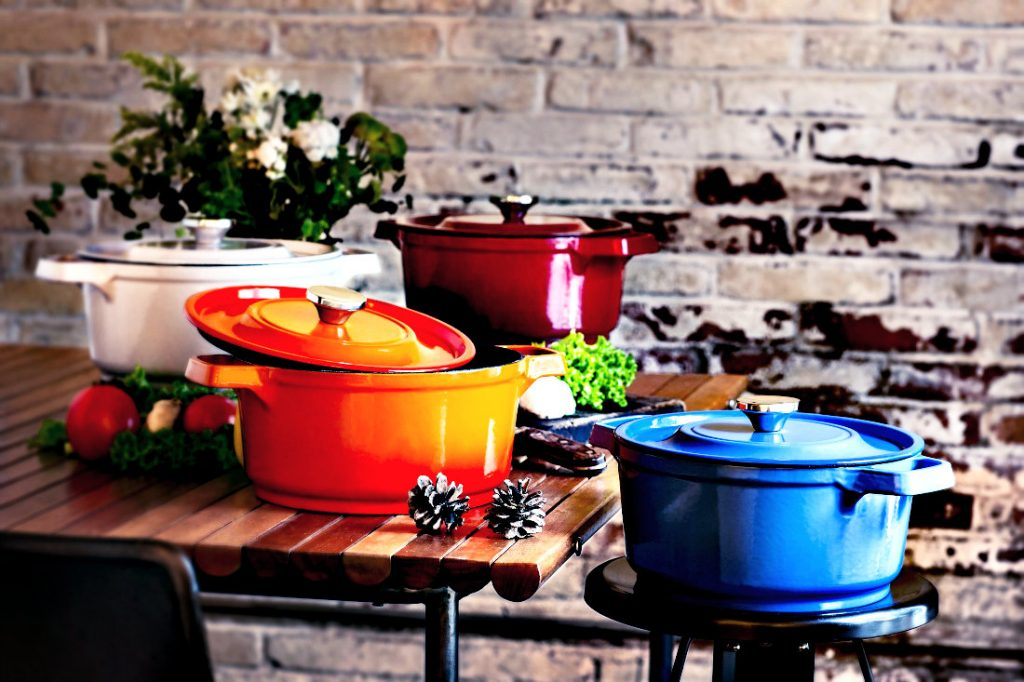 4 Enameled Cast Iron Pots each a different color: White, Orange, Blue and Burgundy Red