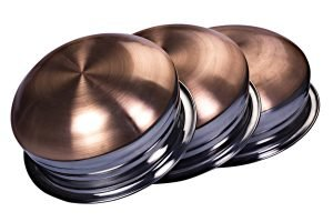 Close-up of three stainless steel copper bottom cooking pots - best copper bottom cookware featured image