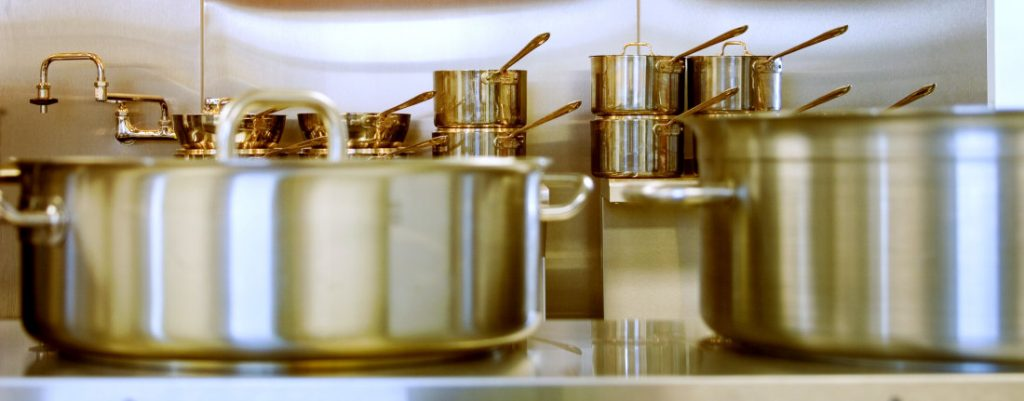 Many stainless steel stockpots