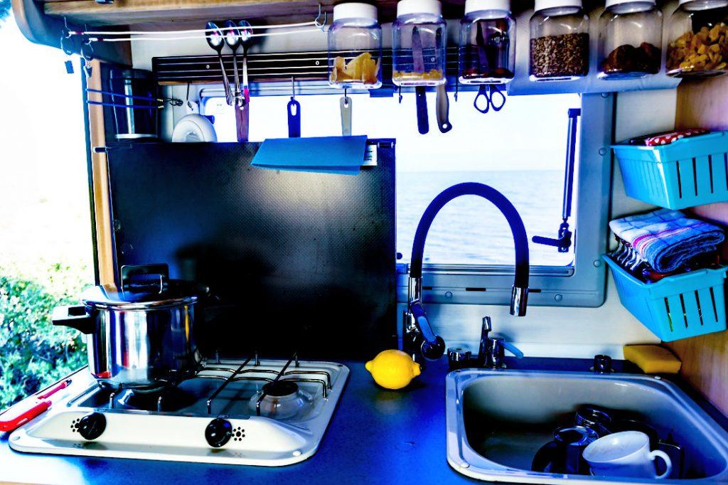 A cramped RV Kitchen