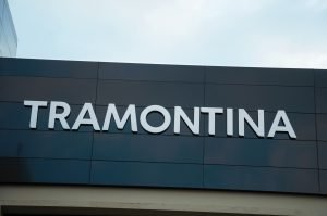 Signboard on the facade of Tramontina building. Best Tramontina Cookare.