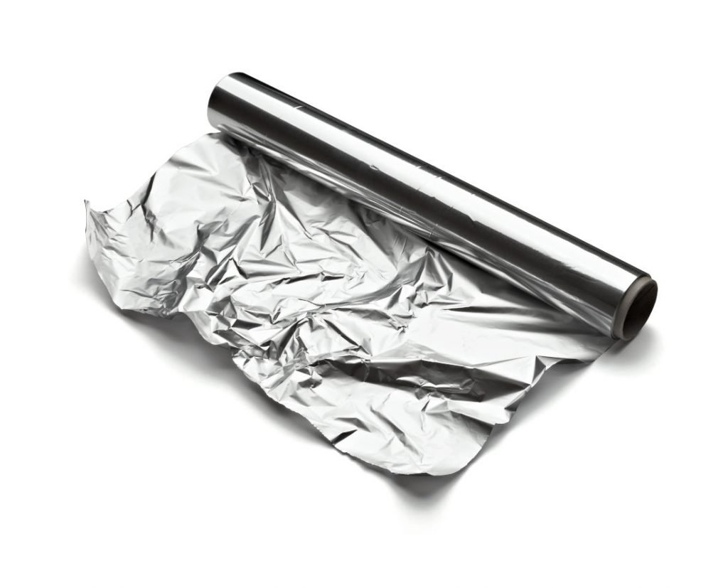 close up of aa aluminum foil on white background with clipping path